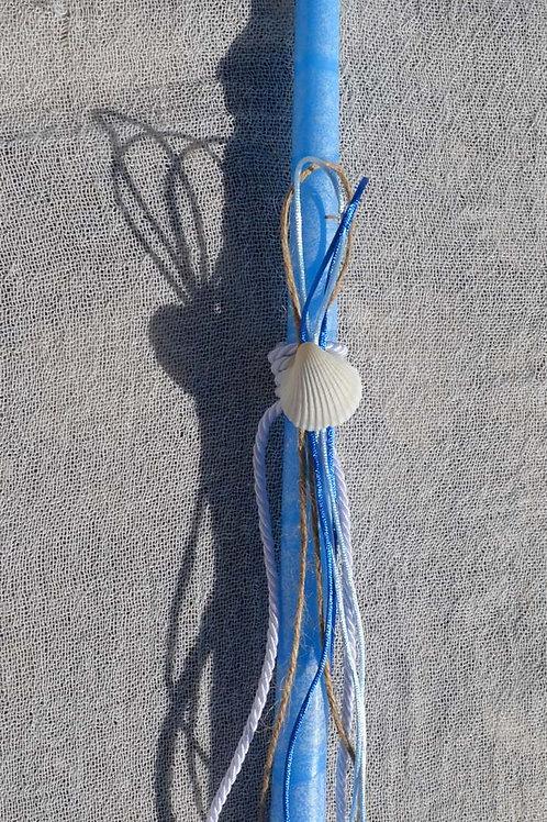 Λαμπαδάκι μπλε με κοχύλι