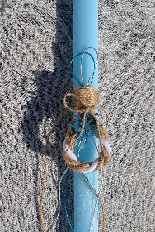 Λαμπάδα ναυτικό κορδόνι με τιμόνι