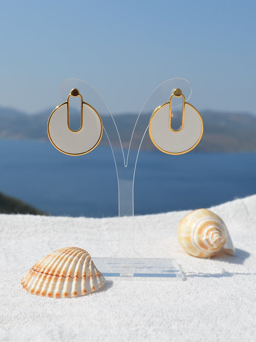 Gold plated 24k earing with whiteenamel and titanium pin