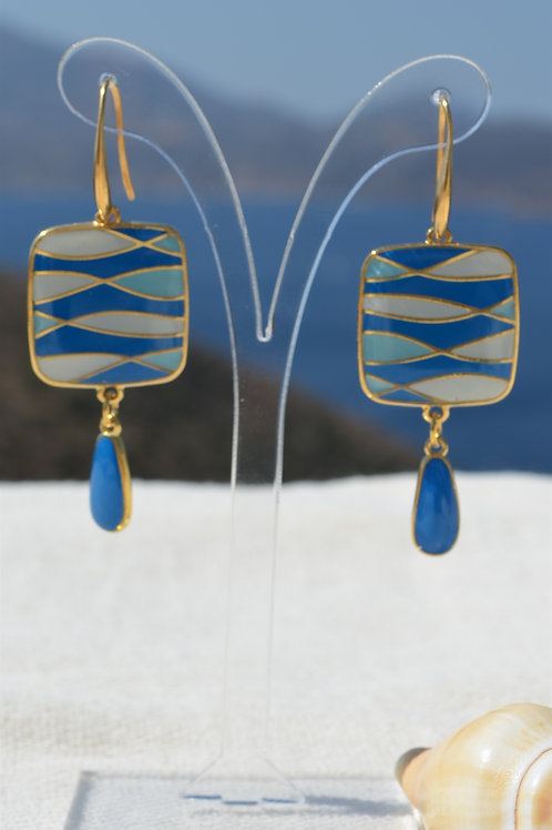 Square earings with drop- Τετράγωνα σκουλαρίκια με σταγόνα