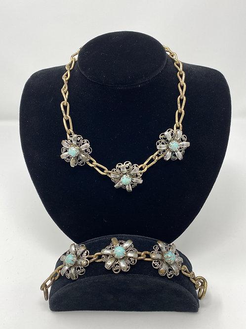 Vintage Filigree Flower Bracelet and Necklace