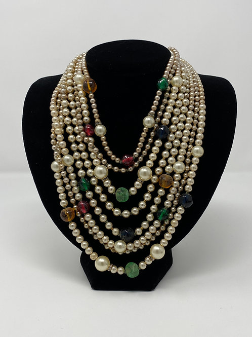 Eight Strand Beaded Necklace