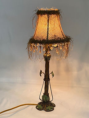 Brass Table Lamp with Fabric Shade with Beads and Fringe
