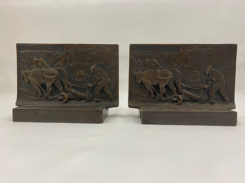 Rare Bronze Bookends The Ploughman Ca 1921