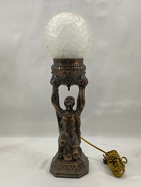 Brass Figural Table Lamp with Crackle Shade