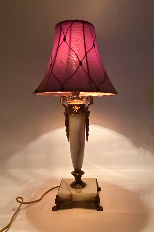 Brass and Marble Table Lamp with Lion's Head and Fabric Shade