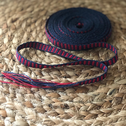 Blue and Red Ribbed Linen Tape