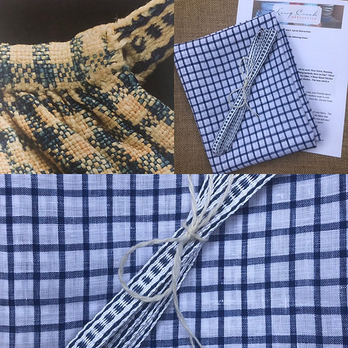 Kit- White and Blue Windowpane Checked Linen Apron