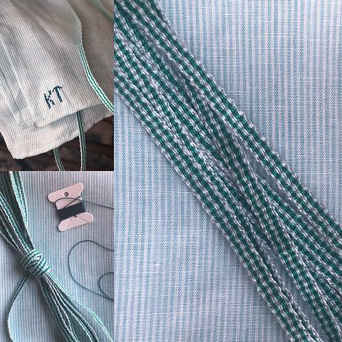 Kit- Saxon Green Striped Linen Apron