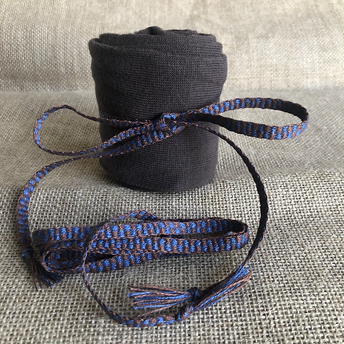 Blue and Brown Checked Linen Garters