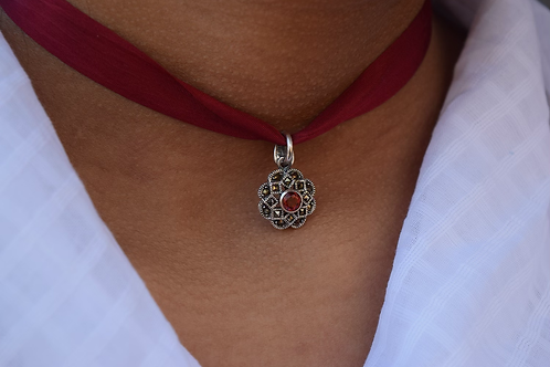 Garnet and Marcasite Ribbon Necklace
