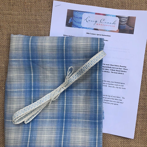 Kit- Blue and Cream Checked Linen Apron