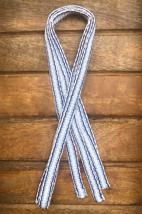 White and Blue Striped Linen Apron Ties