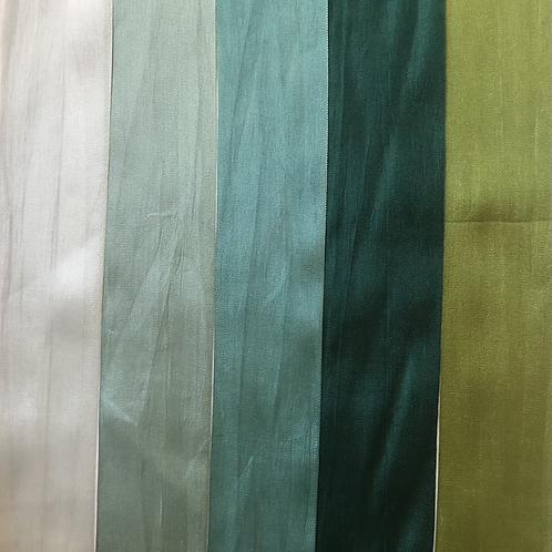 Silk Taffeta Ribbon in Green Hues
