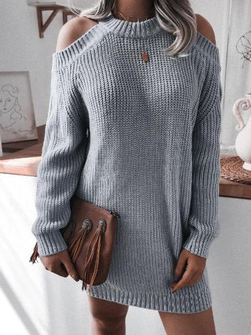 Cold Shoulder Knit Long Sleeve Sweater Dress