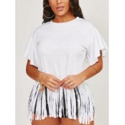 Lovely Casual O Neck Tassel Design White T-shirt