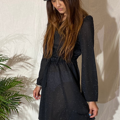 70's Black Metallic Sheer Dress