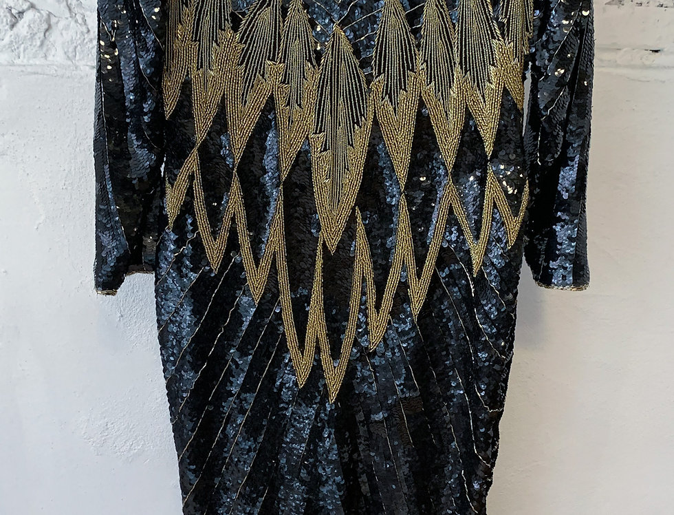 70's | 80's VINTAGE Sequins Black & Gold Gown