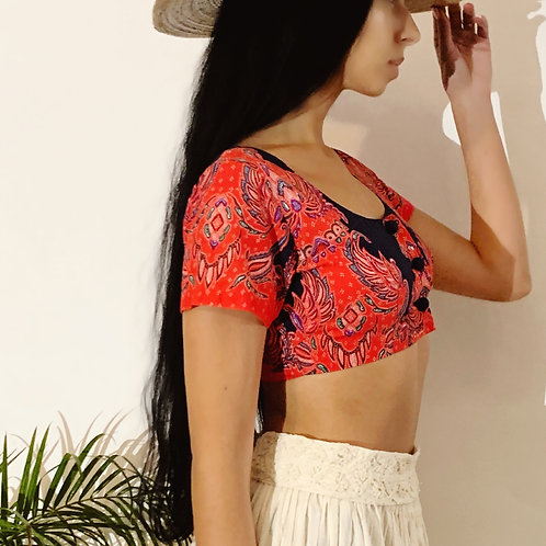 60's Vintage Red Cotton Crop