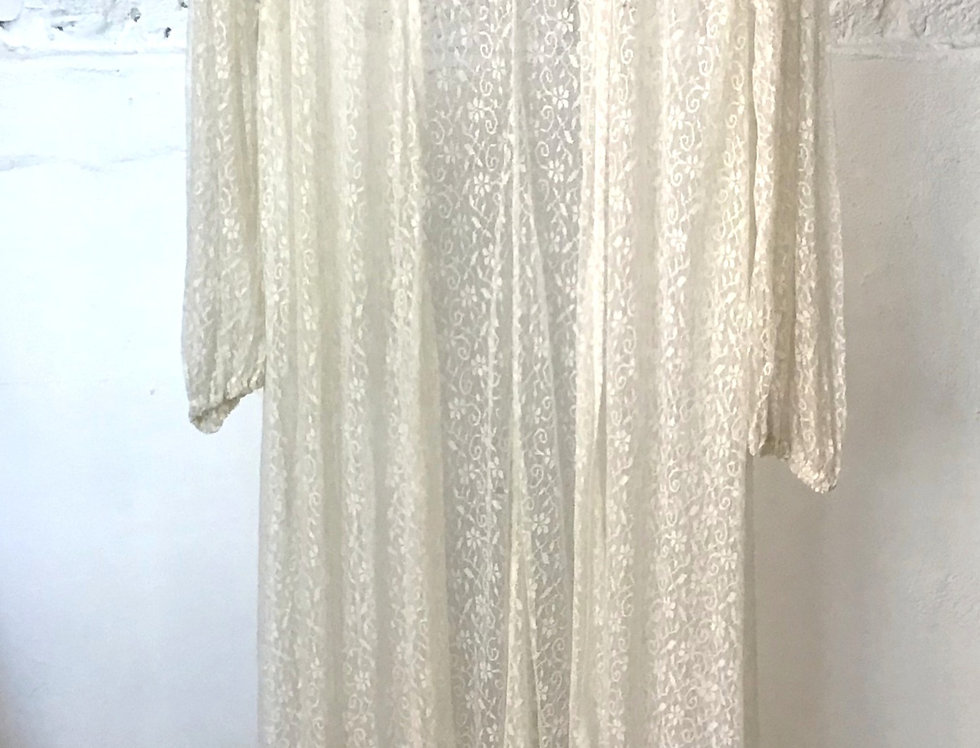 VINTAGE 50/60's Ivory Lace Duster