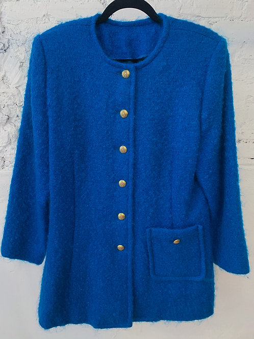 60's | 70's Handmade Blue Button Up Coat