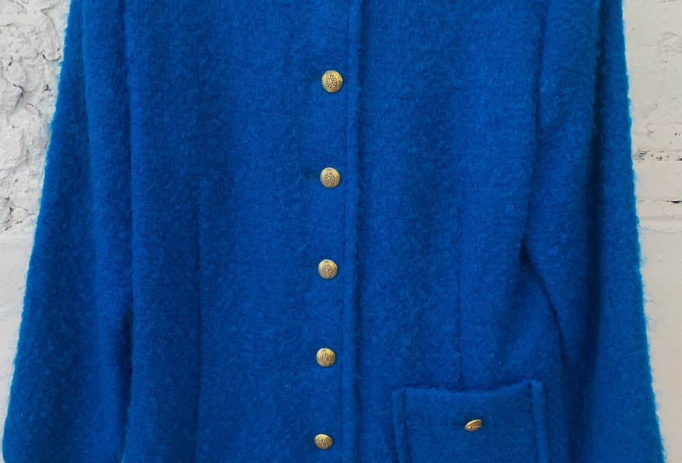 60's | 70's Handmade Blue Button Up Coat