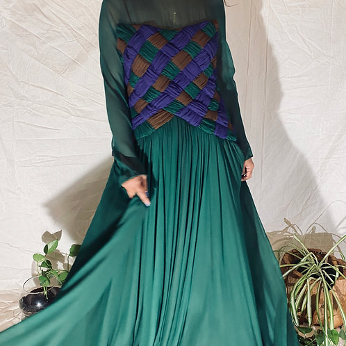 70's | 80's Silk Scaasi Green Gown