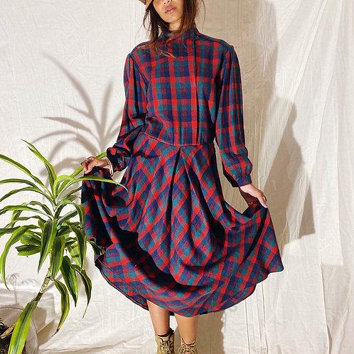 70's Italian Wool Plaid Dress