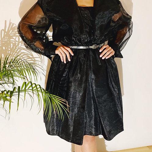 80's Vintage Black Organza Dress