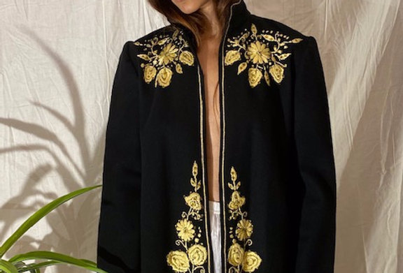 VINTAGE 30's | 40's Gold Hand-Embroidered Jacket