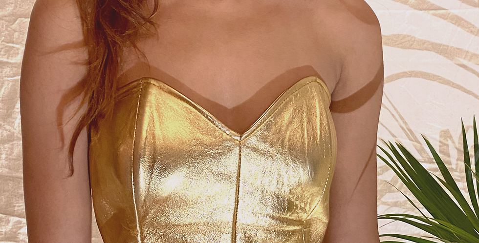 VINTAGE 70's | 80's Vakko Gold Leather Bustier