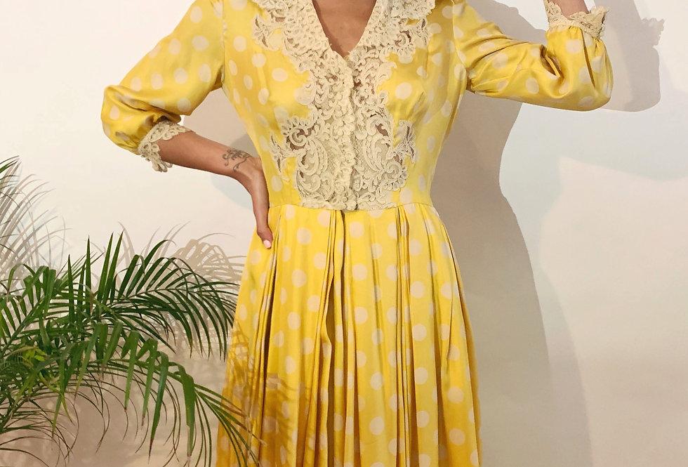 50's Vintage Silk Polka-Dot Dress
