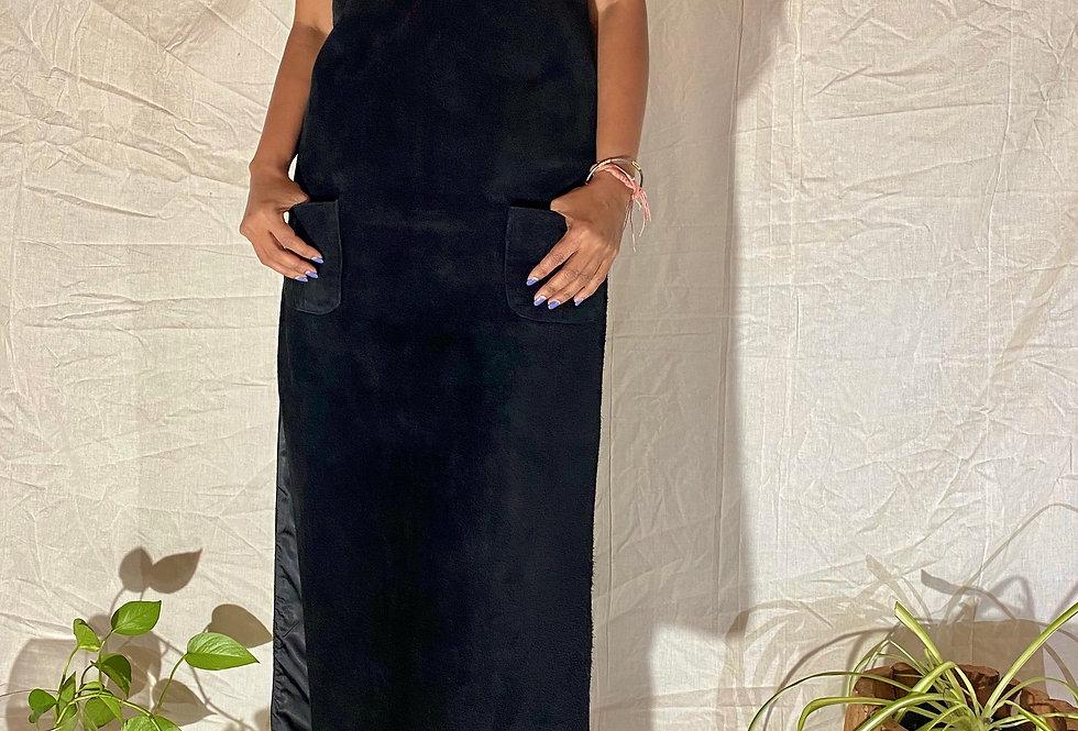 VINTAGE 70's | 80's Anne Klein | Saks Black Leather Dress