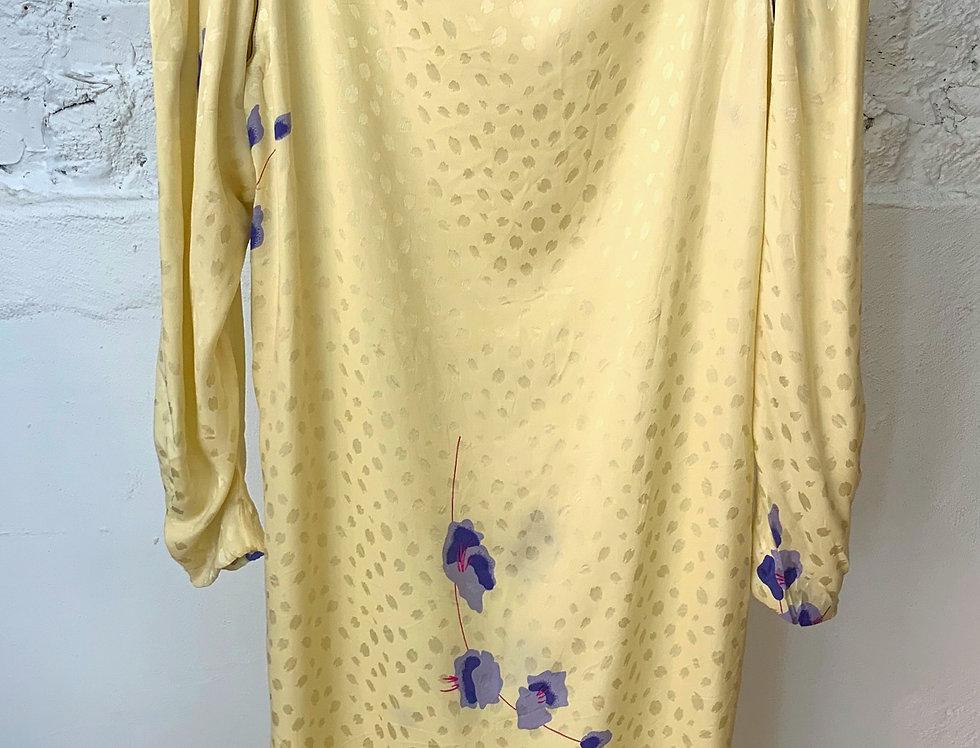 VINTAGE 70's Yellow Silk Dress