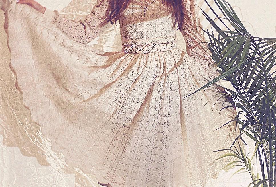 40's | 50's Hand Crochet Ivory Wool Dress