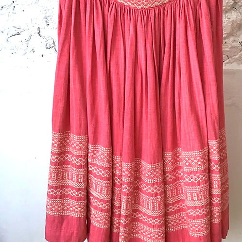 VINTAGE 70's Pink Cotton Embroidered Skirt