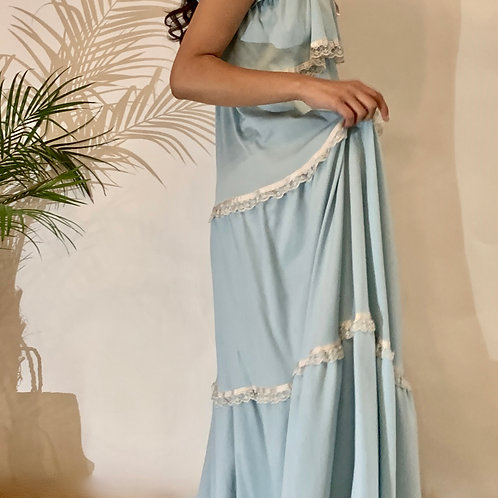 VINTAGE 70's Blue Ruffle Dress