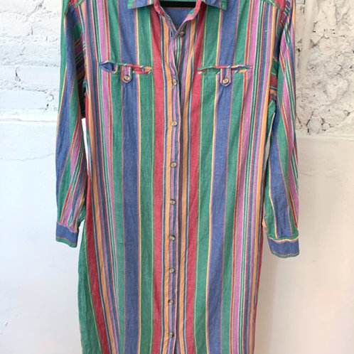 VINTAGE 70's Cotton Button-Down Dress