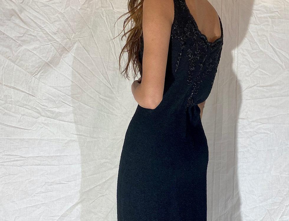50's Vintage Handmade Hand-Beaded Black Knit Dress