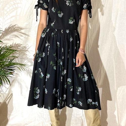 40's Vintage Floral Cotton Dress