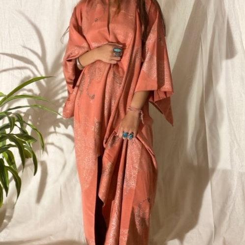 VINTAGE 40's | 50's Handmade Peach Japanese Kimono