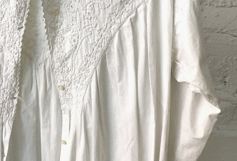 VINTAGE White Edwardian Embroidered Gown