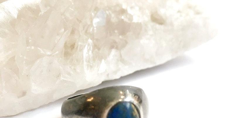 Vintage Dark Silver Lapis Ring