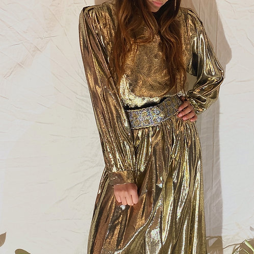 VINTAGE 70's | 80's Gold Lame Metallic Dress