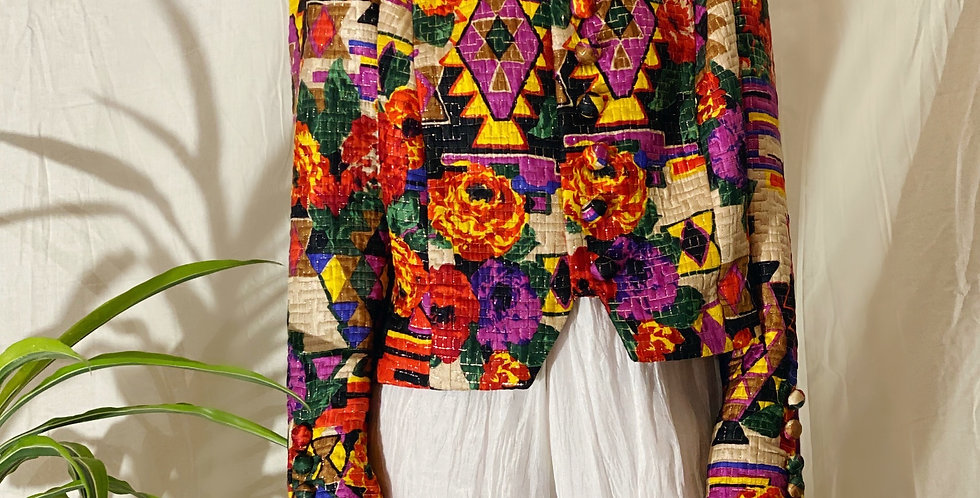 80's Silk Handmade Jacket Quilted