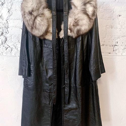 70's Black Leather Coat