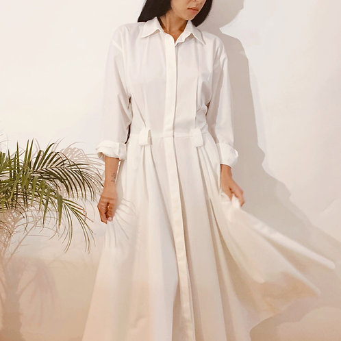 VINTAGE 70's White Cotton Maxi