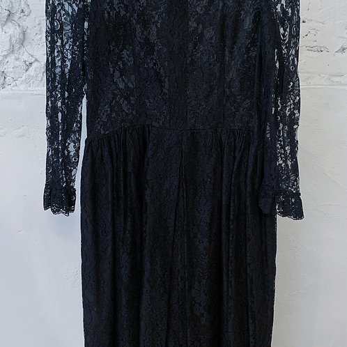 70's Black Lace Dress