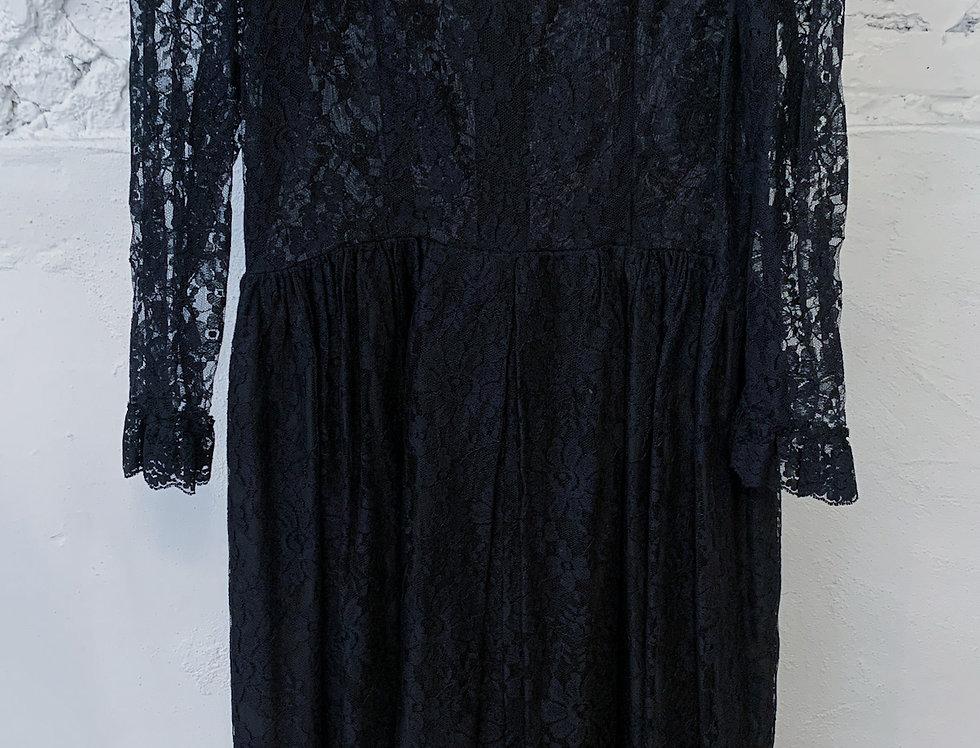 70's Black Lace Dress