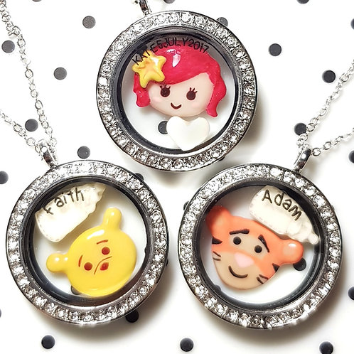Floating Cartoon Character + 1 BM Charm Glass Locket